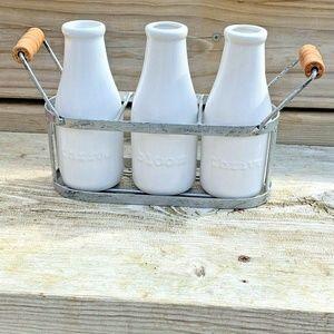 Farmhouse Milk Bottle Vase Set Decoration Ceramic